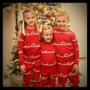 BRAND NEW organic Christmas pajamas - nativity red